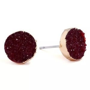 Jewelry - Ruby Round Druzy Crystal Stud Earrings
